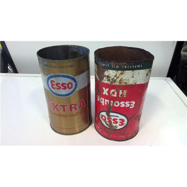 Lot of 2 Esso Quart Tins