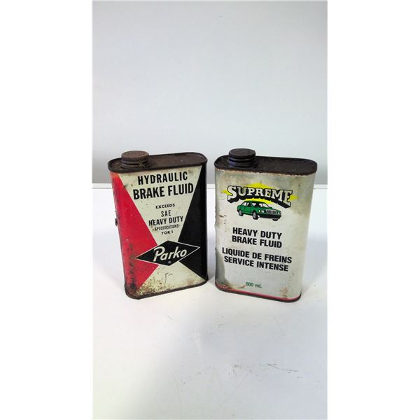 Lot of 2 Vintage Brake Fluid Tins