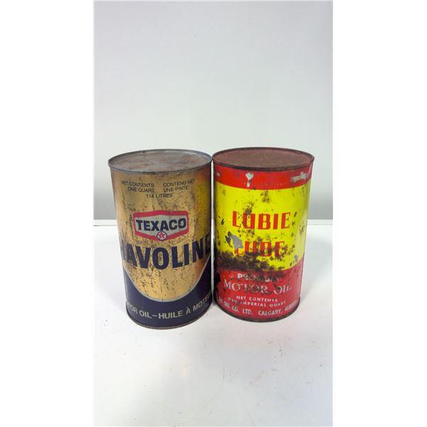 Lot of 2 Texaco and Hub Oil Tins