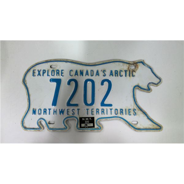 1986 North West Territories Licence Plate