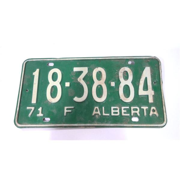 1971 Alberta Licence Plate