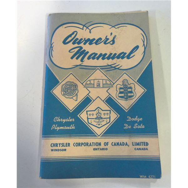 1953 Chrysler Owners Manual