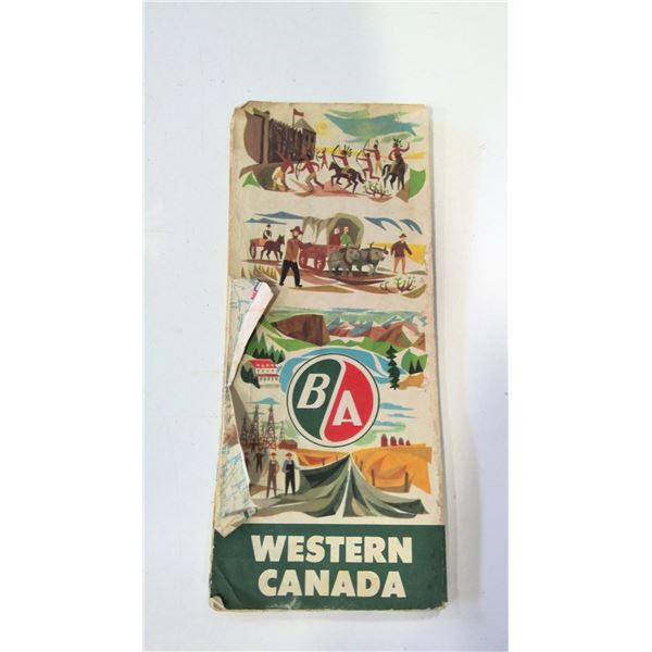 British American Oil 1958 Road Map of Western Canada