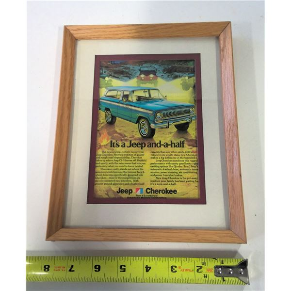 Framed Vintage Jeep Cherokee Advertisement