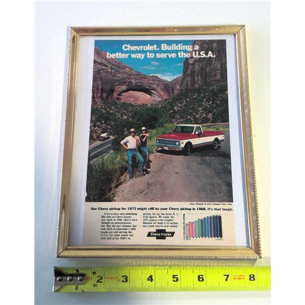 1972 Chevy Silverado Framed Advertisement