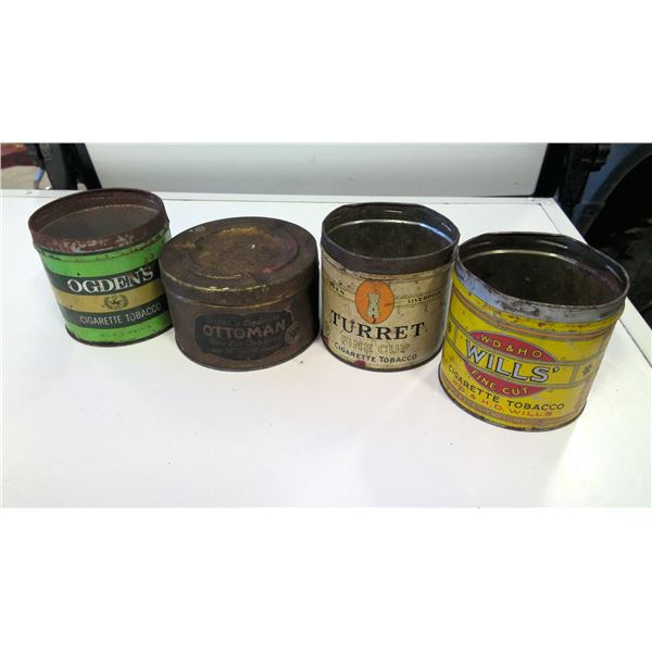 Lot of 4 Vintage Tobacco Tins
