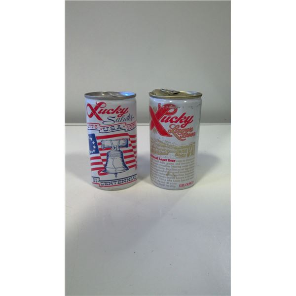 Lot of 2 Vitnage Lucky Lager 1970s Beer Cans