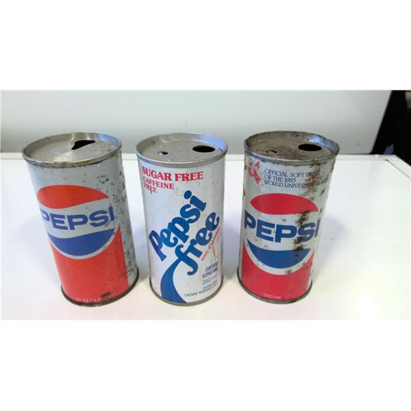 Lot of 3 Vintage Pepsi Cola Cans