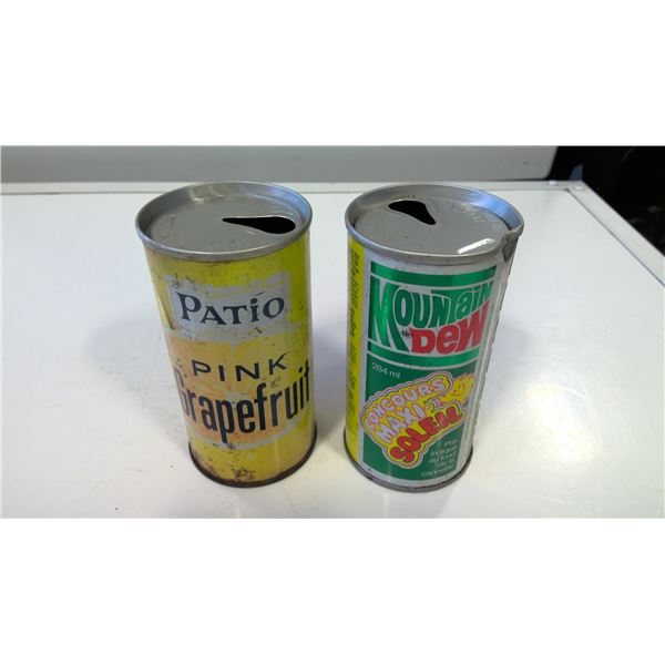 Lot of 2 Vintage Pepsi Patio and Mountain Dew Cans