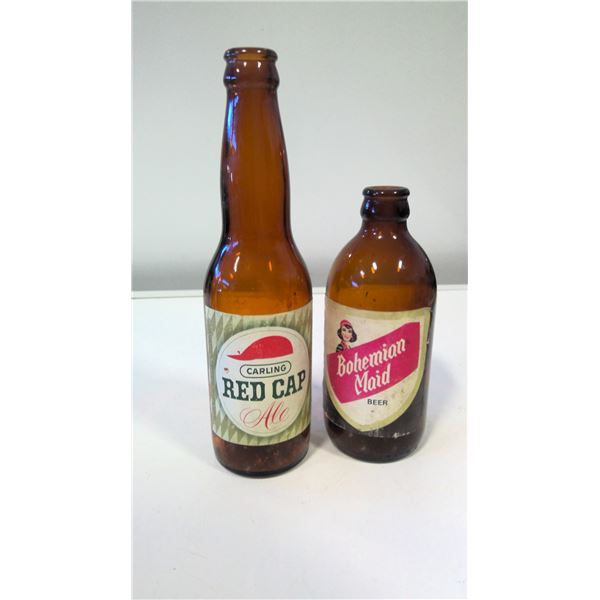 Carling Red Cap and Bohemian Maid Beer bottles