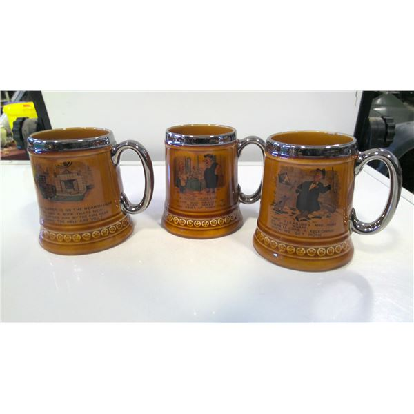 Lot of 3 Lord Nelson England Pottery Beer Mugs