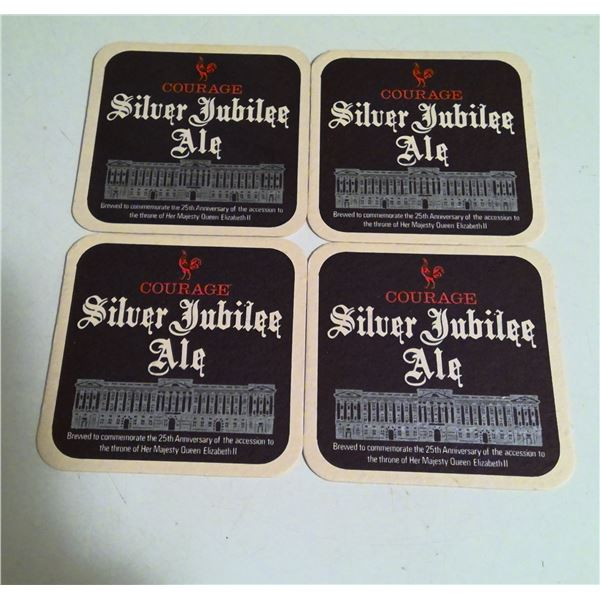 Lot of 4 1977 Courage Silver Jubilee Ale Beer Coasters