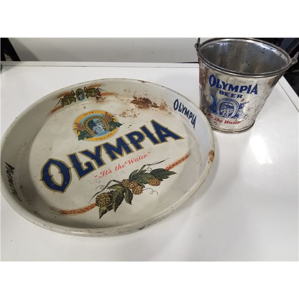 Vintage Olympia Beer Tray and Bucket
