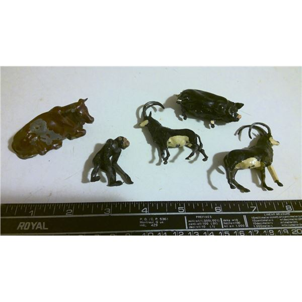 Lot of 5 Antique Toy steel animals