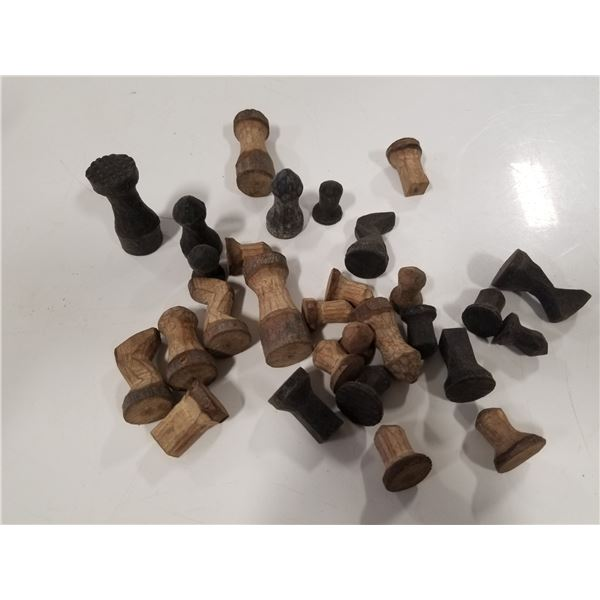 Lot of vintage hand made wood chess pieces