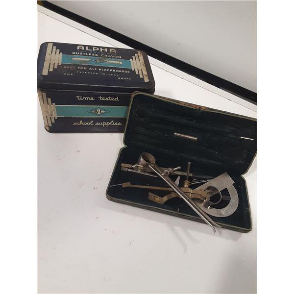 Vintage Alpha Chalk Tin and misc antique Math set pcs