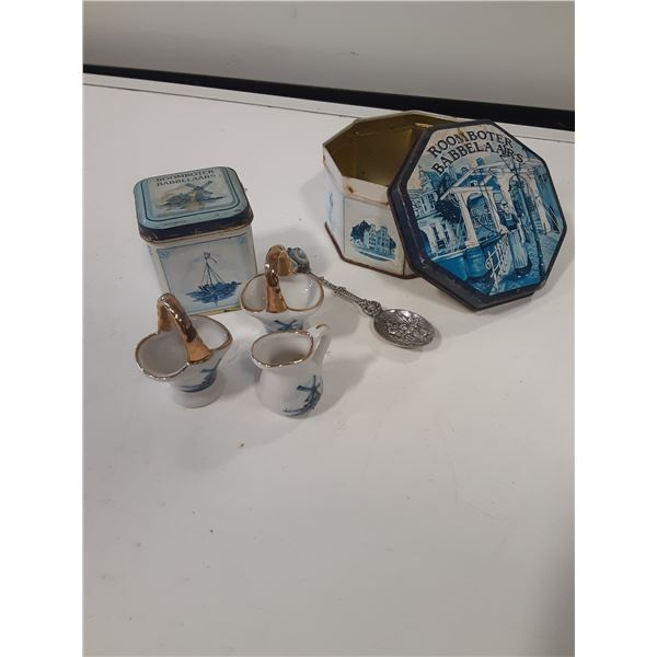Lot of Dutch / Holland Tins and collectibles