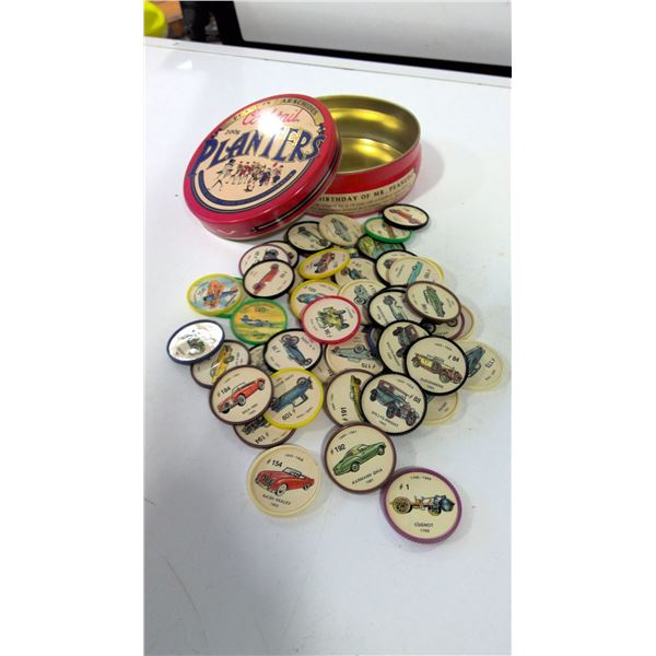 Lot of Collectible Jello Car Pogs in vintage planter's tin