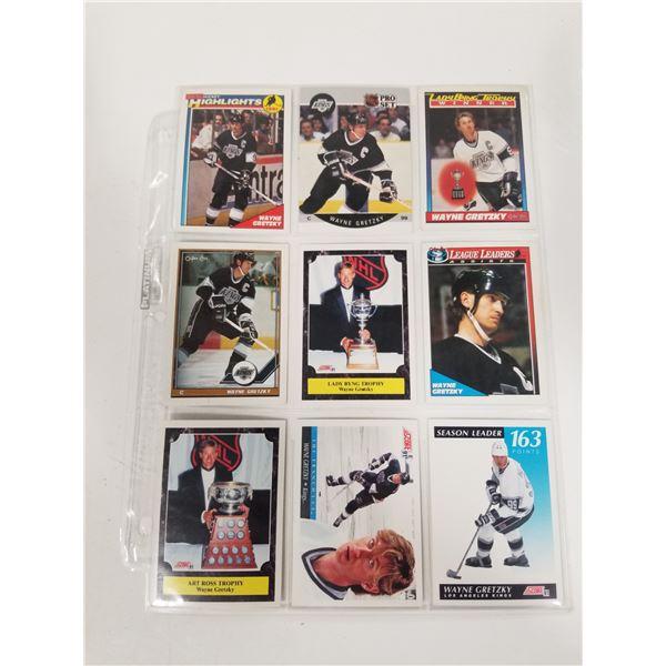 Lot of 9 Wayne Gretzky Hockey Cards