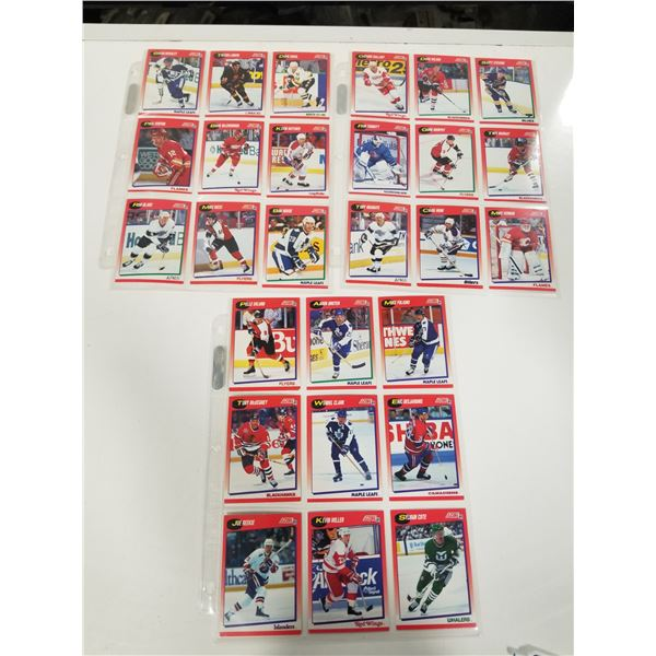 3 pages of 1991 Score Hockey cards