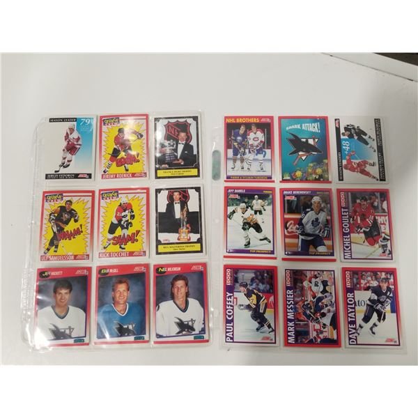2 pages of 1991 score hockey cards