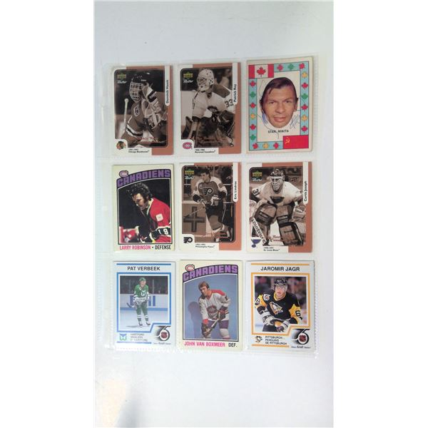 1 page lot of hockey cards