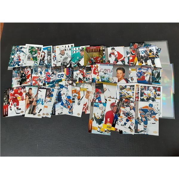 Large stack of unsearched upper deck hockey cards