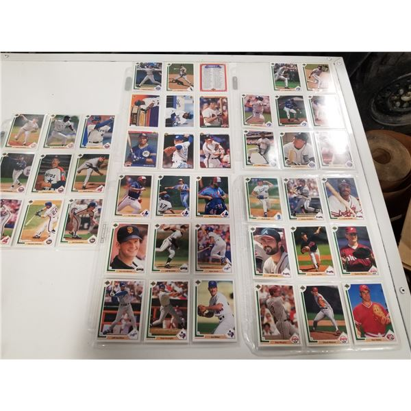 5 page Lot 1991 Upper Deck Baseball Cards