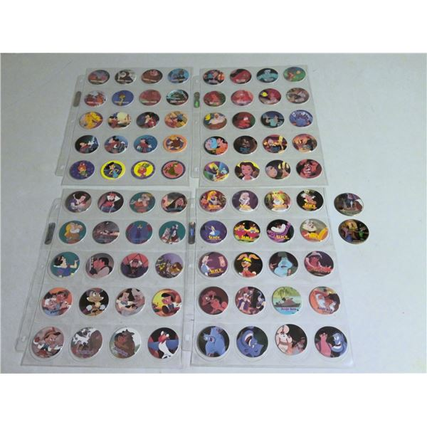4 page lot of Disney and childrens movie POGs with 2 slammers