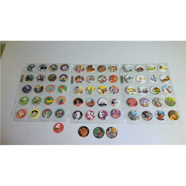 3 page lot of Disney and childrens movie POGs with slammers