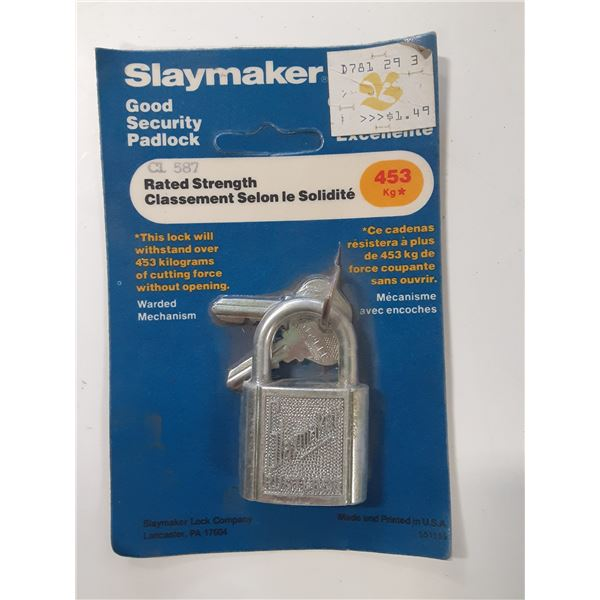 Vintage Slaymaker Padlock in original packaging