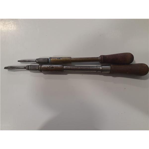 Lot of 2 vintage spiral screwdrivers