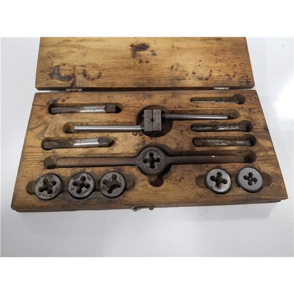 Antique Star Tap and Die Set in wood box