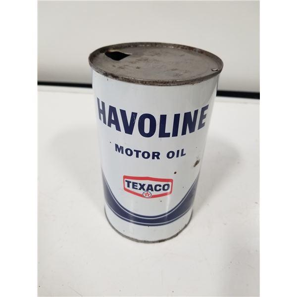 Texaco Havoline Motor Oil Quart tin