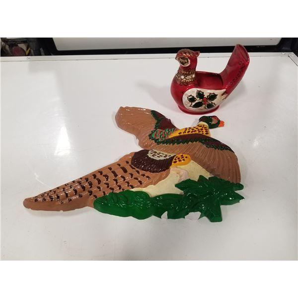 Pheasant Chalk ware and ceramic pheasant candle holder