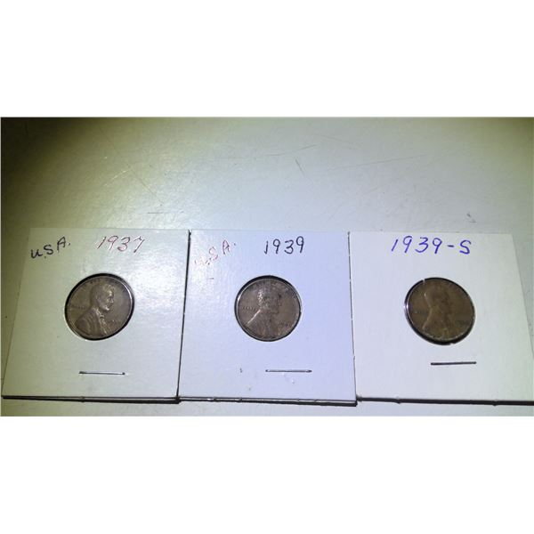 Lot of 3 1937 & 1939 USA Wheat Cents