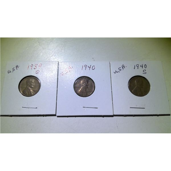 Lot of 3 1939 & 1940 USA Wheat Cents