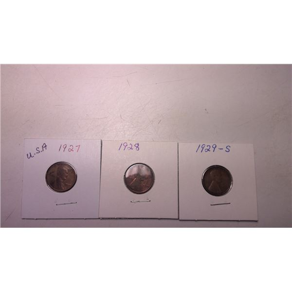 Lot of 3 1927 - 1929 USA Wheat Cents