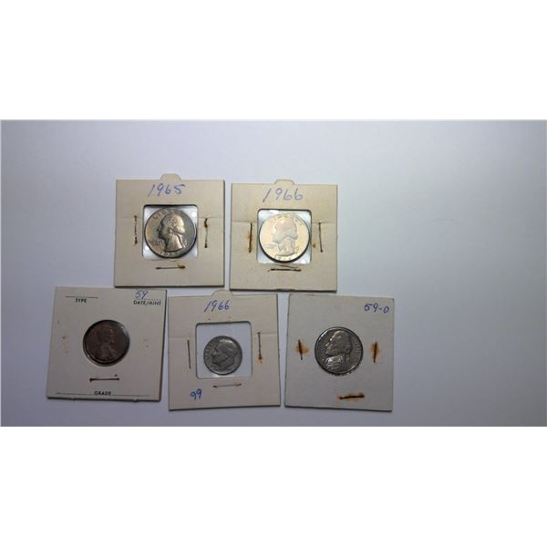 Lot of 5 USA Coins in holders