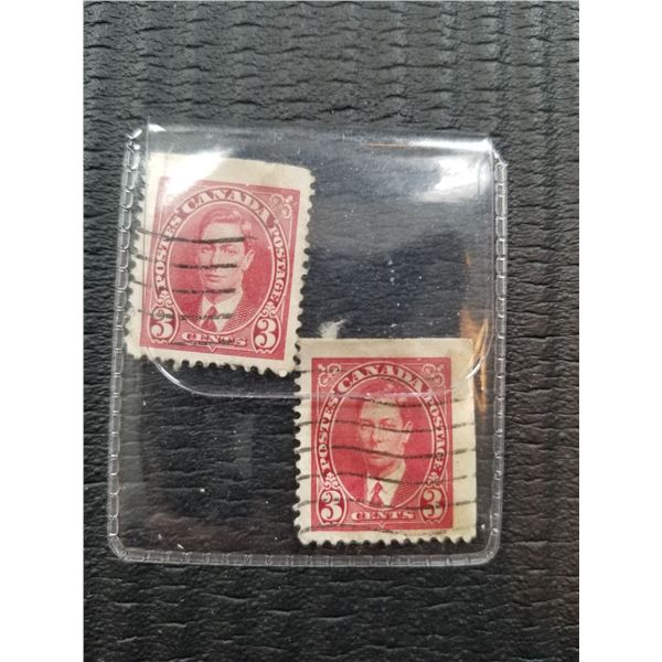 Lot of 2 Vintage Canadian 3 Cent Stamps