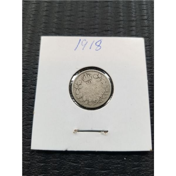 1918 Canadian 10 Cent Silver Coin