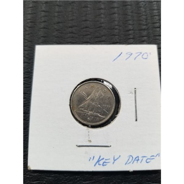 1970 Key Date Canadian 10 Cent Coin