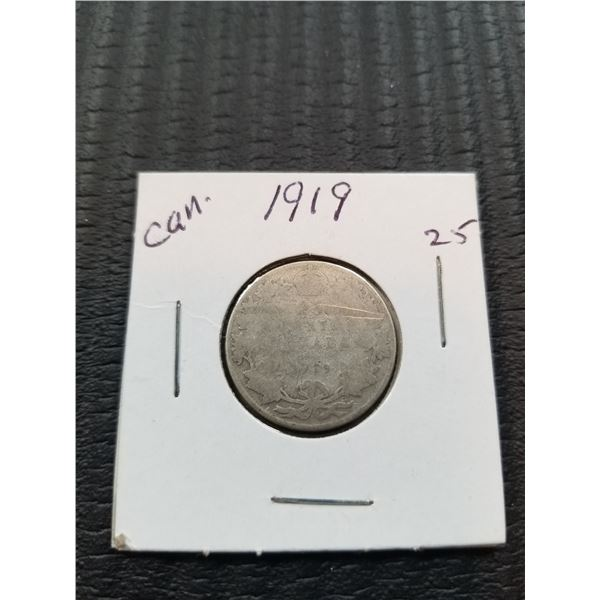1919 Canadian 25 cent silver coin