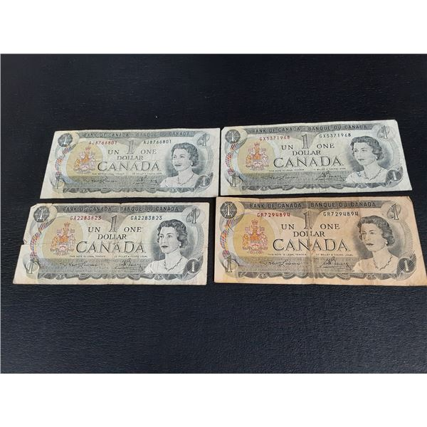 Lot of 4 Circulated 1973 Canada 1 Dollar Bills
