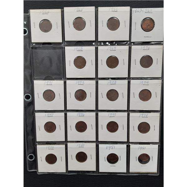Page lot of carded Canada 1 Cent coins