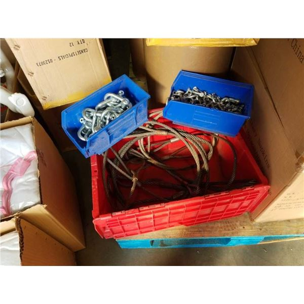 Tote of cable slings and 2 trays of shackles