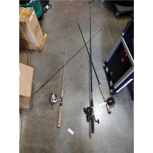 FLY FISHING ROD WITH MARTIN REEL AND 2 RODS WITH SPINNING REELS