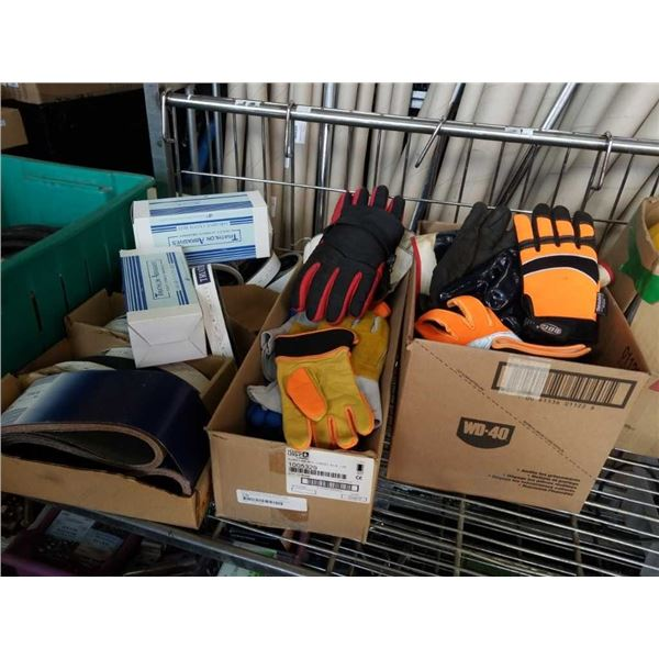 Three boxes of work gloves and sanding belts