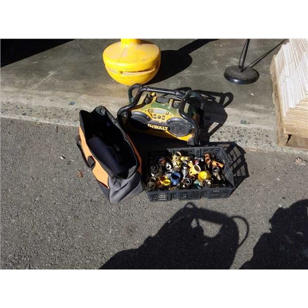 DeWalt shop radio with Tray of hole saws and rigid bag with contents
