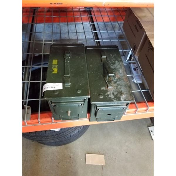 2 METAL AMMO BOXES 50 CAL AND 5.56MM